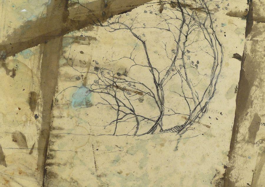 Ein Gemälde von einem Rosengesträuch von Fritz Overbeck.