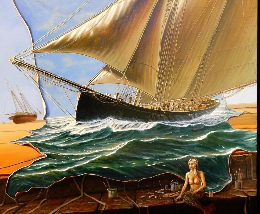 Eine Malerei mit einem Schiff und einer Nixe.