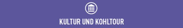 """Balken mit der Aufschrift """"Kultur und Kohltour""""."""