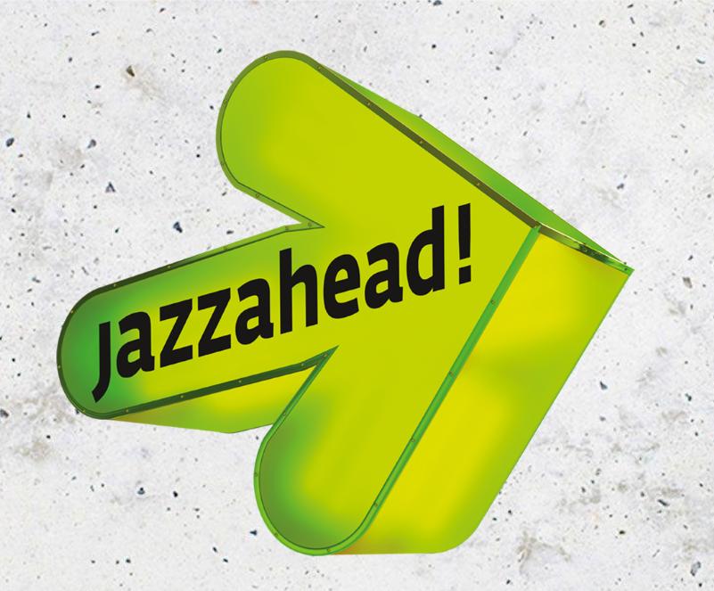 "Nach rechts zeigender Pfeil, der den Schriftzug ""jazzahead!"" trägt."