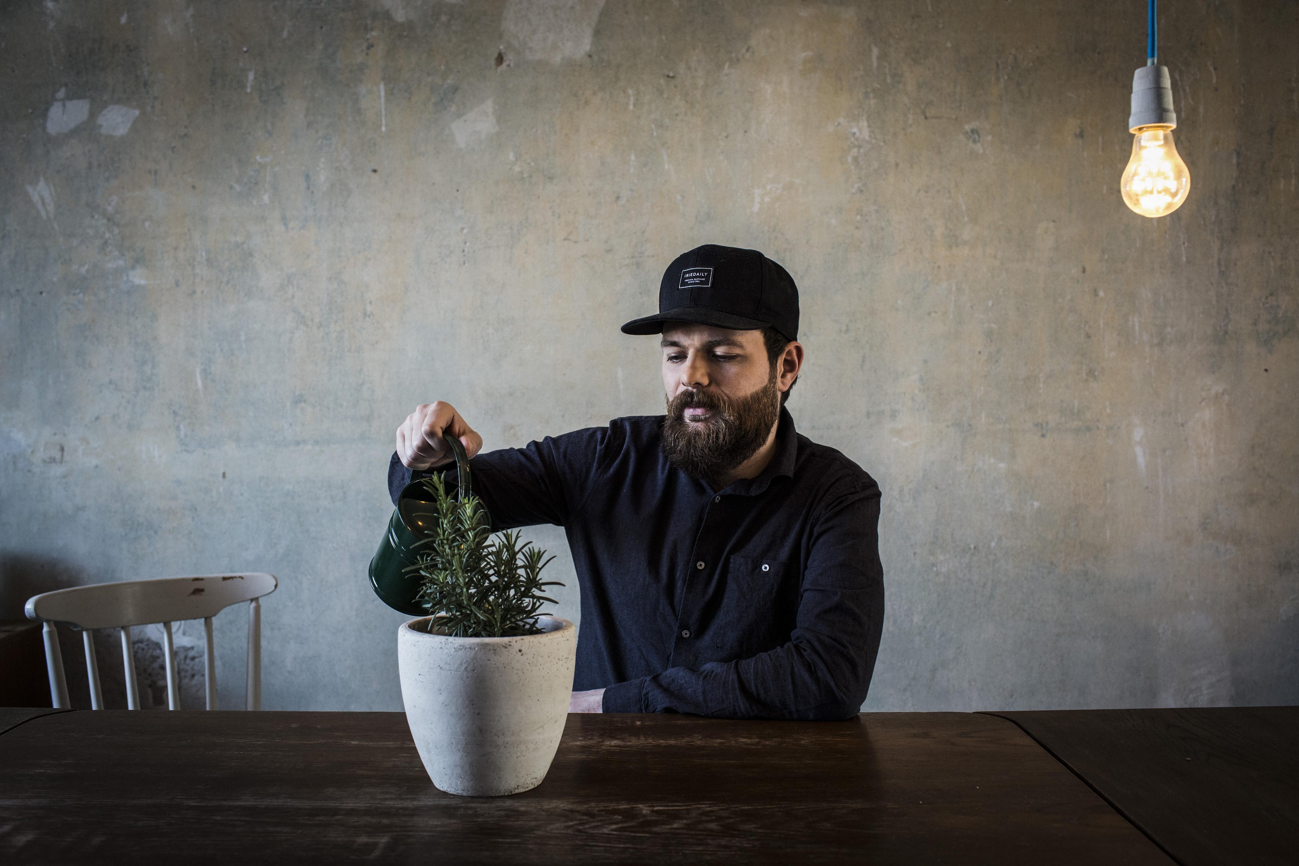Bärtiger Mann gießt eine Pflanze