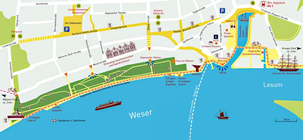 Eine Karte zeigt die Weserpromenade Vegesack