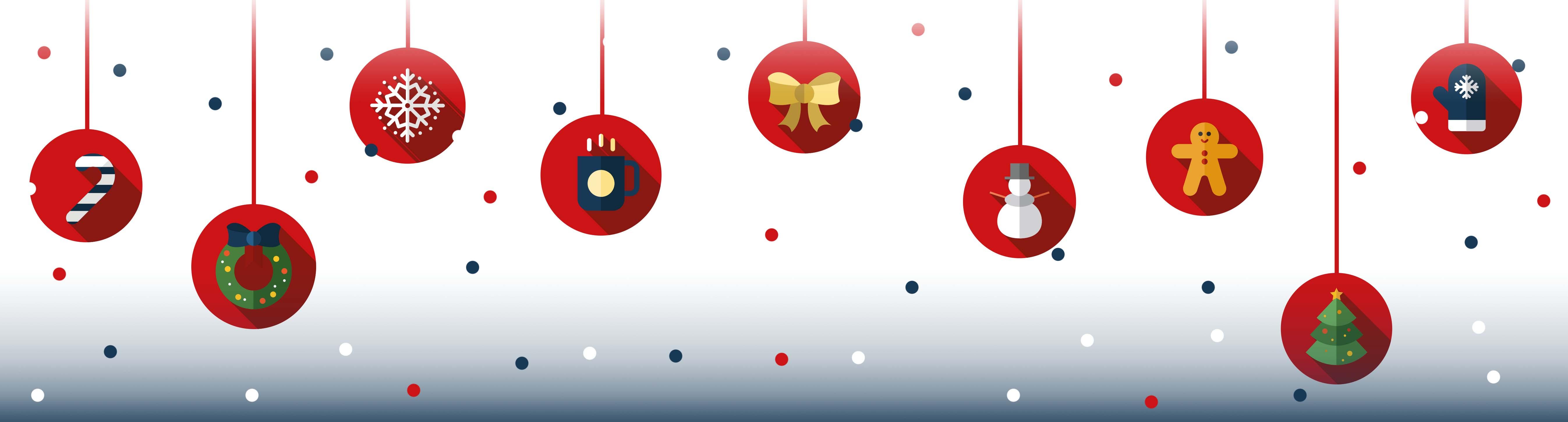 Grafik zeigt nebeneinander hängende Weihnachtskugeln mit unterschiedlichen weihnachtlichen Motiven.